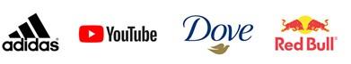 Adidas, Youtube, Dove, Red Bull logo